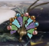 occident fashion Peacock necklace jewelry Vintage color stone sweater necklace pendant