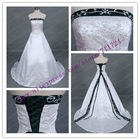 White and hunter green satin embroidery wedding dress
