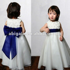 Handmade Floral Bodice Blue Sash Organza 2012 Flower Girl Dress