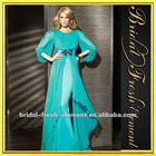 Hot Sale Chiffon Ruffled Long Sleeve Maxi Evening Dress