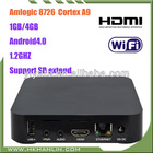 CE/RoHs Amlogic-8726M3 Cortex A9 1.2GHz Andriod 4.0 1GB 4GB ROM WIFI RJ45 GPU HDMI 1080P tv box set top box