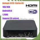 CE/RoHs Amlogic-8726M3 Cortex A9 1.2GHz Andriod 4.0 1GB 4GB ROM WIFI RJ45 GPU HDMI 1080P tv box set top box
