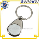 Custom round shaped black logo Metal Key chain