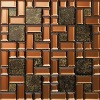 Ornate Strip Gold Foil Mix Mirror Glass Mosaic Tile