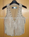 2012 LADIES FASHION LEATHER VEST WITH BEADING EFFECT AND FRINGES EFFECT
