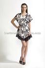 NEW women black/white flower printed short loose sleeve chiffon dress