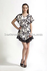 NEW women black/white flower printed short loose sleeve chiffon dress