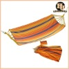 Portable outdoor camping hammock with wooden bar