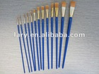 Fan Style Artist Brushes with blue varnished wooden handle