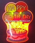 happy Birthday Girl LED flashing badge / pin / body light