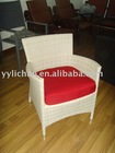 rattan white wedding chairs with red cushions