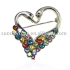 Latest Brooch,Colorful Love Swan Crystal&Sliver Tone Brooch