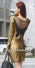 Dazzling Backless Butterfly Embellished Slim Dress Gold ZD12092605-1