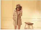 Korean Style Double-breasted Slim Long Coat LP12092712