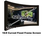 Wholesale 16 to 9 120 inch Curved Fixed frame projection projector screen/matt white for 3D home cinema