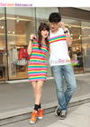 Couple casual wear men's t shirt cotton stripe rainbow women's dress