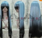 Hot! New Fashion Black/Blue Mix Long Straight Party Wigs