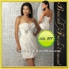 Organza Sweetheart Beaded Ruffled Cheap White Cocktail Dresses 2012
