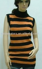 Striped ladies sweater dress sleeveless turtleneck(XM-LD-C0731-1)