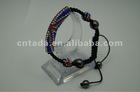 wholesale fashion charm with black stone bending beads long tube shamballa bracelet