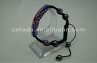 wholesale fashion charm with black stone bending beads long tube shamballa bracelet