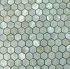 white hexagon shell mosaic tile