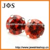 925 Sterling Silver Earring Red Cubic Zirconia Stud Jewelry Earrings