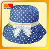 white spotted print on blue cotton fabric fashion bush hat with band and rhinestone bow trim