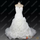 Real Sample New Arrival 2013 New Style Ball Gown Sweetheart Flowers Organza White Bridal Wedding Dress