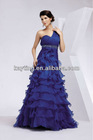 One-shoulder rich layering evening dress 1020