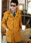 Stylish Hooded Zipper Button Long Wind Coat Yellow QM12092609