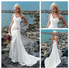 White Elastic Satin Beach Casual Cheap Price One Sleeve Wedding Gowns