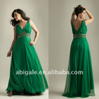 V Neckline Beaded Waist A-line Plus Size Prom Dress