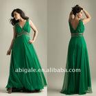 V Neckline Beaded Waist A-line Plus Size Prom Dress