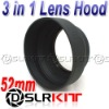 52mm 3-in-1 3-Stage Collapsible Rubber Lens Hood