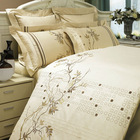 Embroidery bedding set/Ivory bed sheet and ivory duvet cover sets