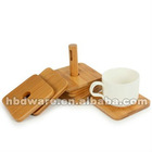 Hot! 7 pcs bamboo coaster set