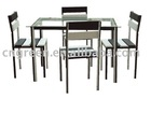 Modern glass 1+4 dining table and chair