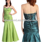 Classic Mermaid Long Strapless Taffeta Country Bridesmaid Dress