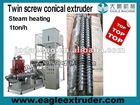 1ton/h conical twin screw extruder for the fish feed, pet food, bread crumbs production