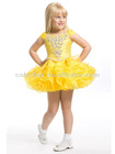 Gorgeous Yellow Beaded Accents at the Bodice Multi Layered Ruffled Short Skirt Pageant Gown for Little Girls