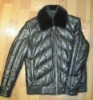 Men's Quilted Down Leather Jacket