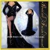 Hot Sale Sequin Black Long Sleeve Open Back Evening Dress