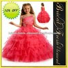 Hot Sale Short Organza Beaded Ruffled Ball Gown Dresses For Girls Of 7 Years Old