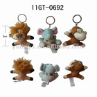 Lovely plush animal keychain - lion, elephant and monkey!