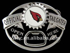 antique silver fashion red and black enamel Cardinals Tailgater Belt Buckle