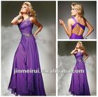 2012 New Fashion Beaded One Shoulder Purple One Shoulder Grecian Prom Dress