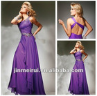 2012 New Fashion Beaded One Shoulder Purple One Shoulder Grecian Prom Dress