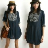 vtg 70s Navy Hippie Square-collar embroidered Festival mini dress TOP