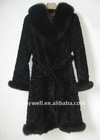 Ladies elegant long sleeve fox fur winter coat / overcoat